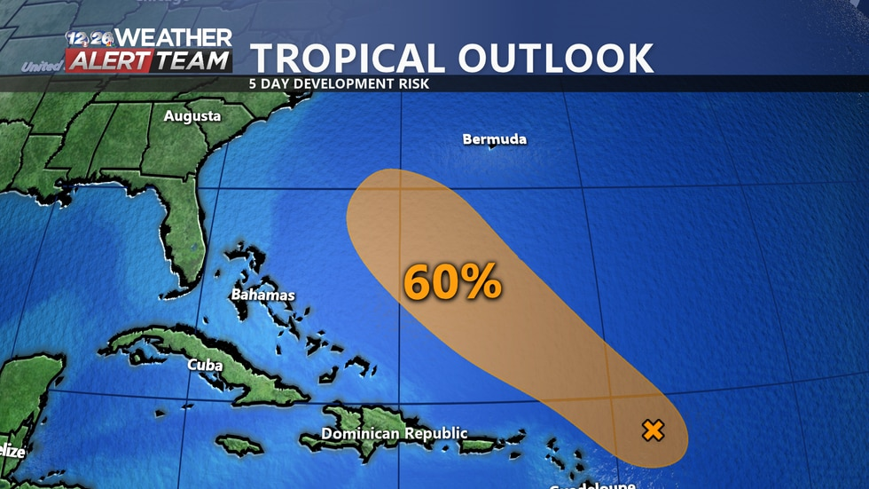 We are keeping a close eye on an area of interest in the Central Atlantic Ocean that has a 60% chance of development over the next 5-Days.