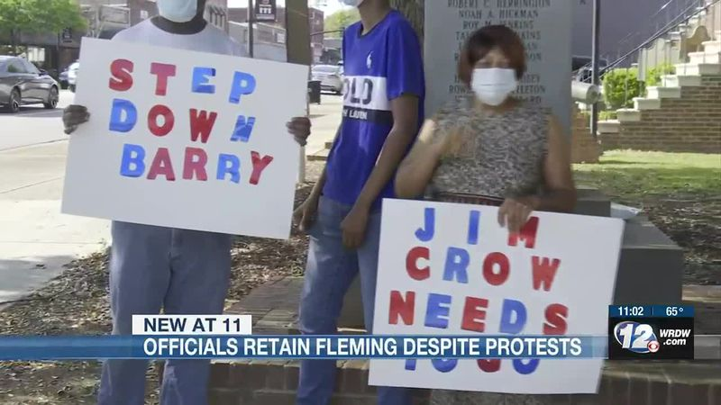 Protestors gathered to demand the termination of a state representative in Burke County