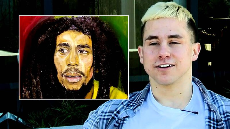 Ty Johnson's painting of Bob Marley got someone's attention.