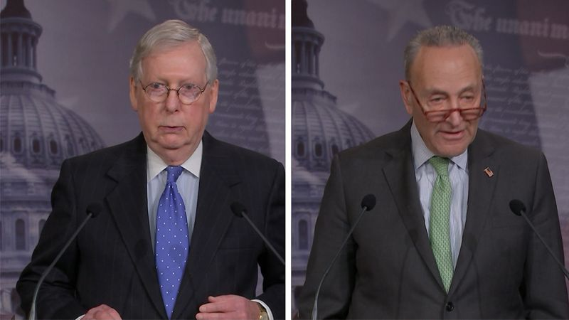 The leaders of the Senate, Minority Leader Mitch McConnell and Majority Leader Chuck Schumer,...