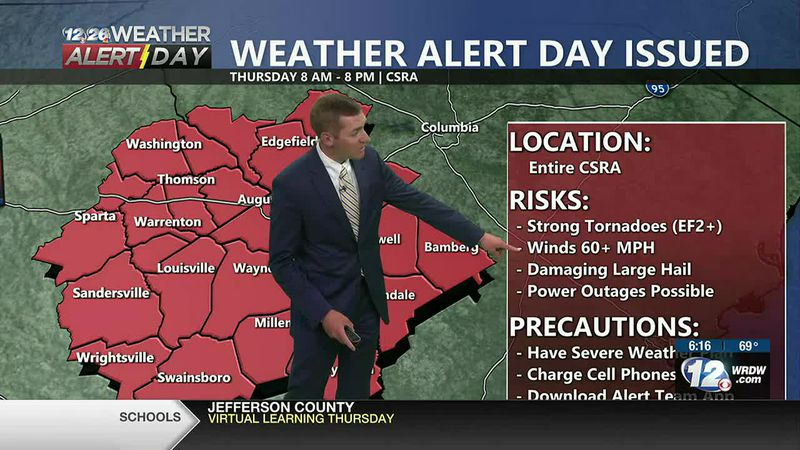 Tornadoes, Damaging Wind, and Large Hail all possible Thursday in the CSRA.