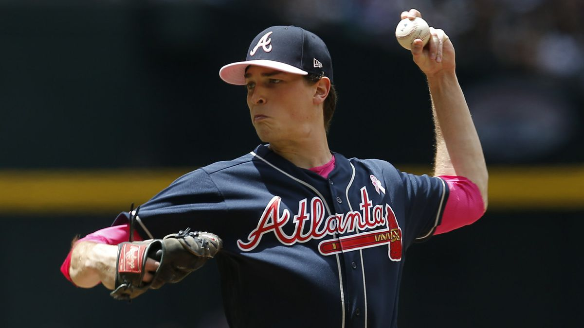 Atlanta Braves pitcher Max Fried throws against the Arizona Diamondbacks in the first inning...