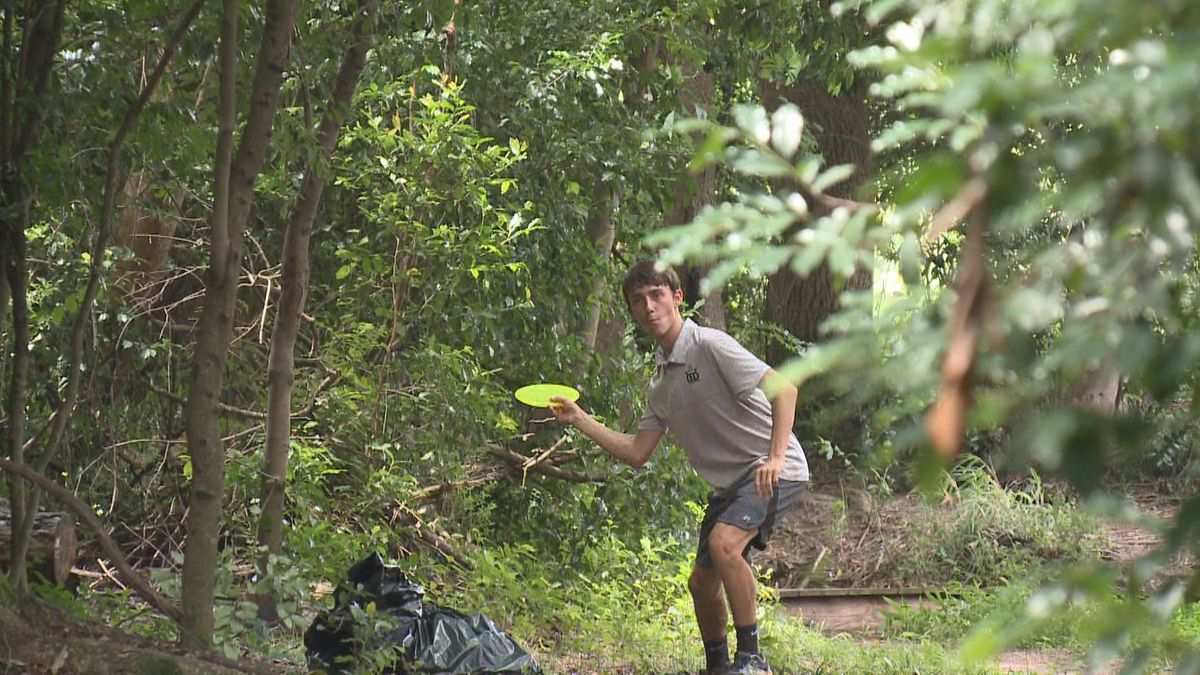 Braeden Sides of North Augusta prepares to throw his second shot during a trash collection round at Riverview Park.