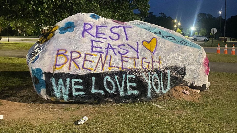 Brenleigh Kitchens' name has been added to a memorial rock at Lakeside High School.