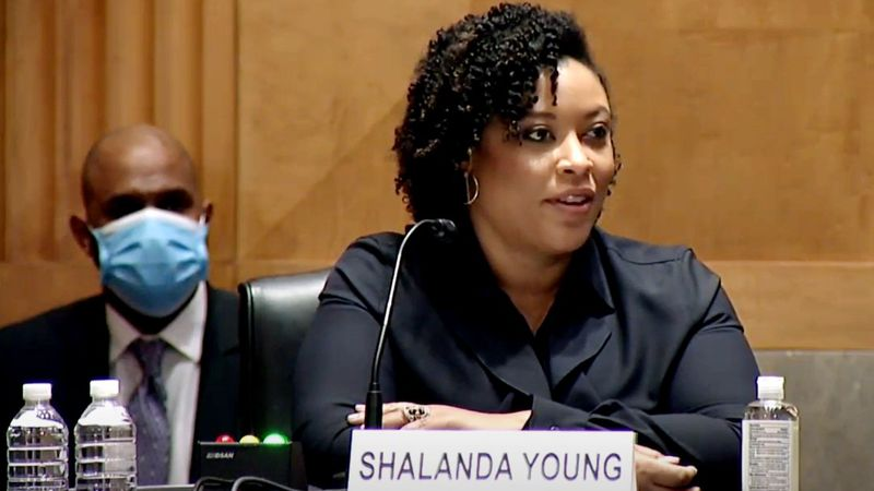 Shalanda Young responds to questions from Sen. Jon Ossoff during  her confirmation hearing...
