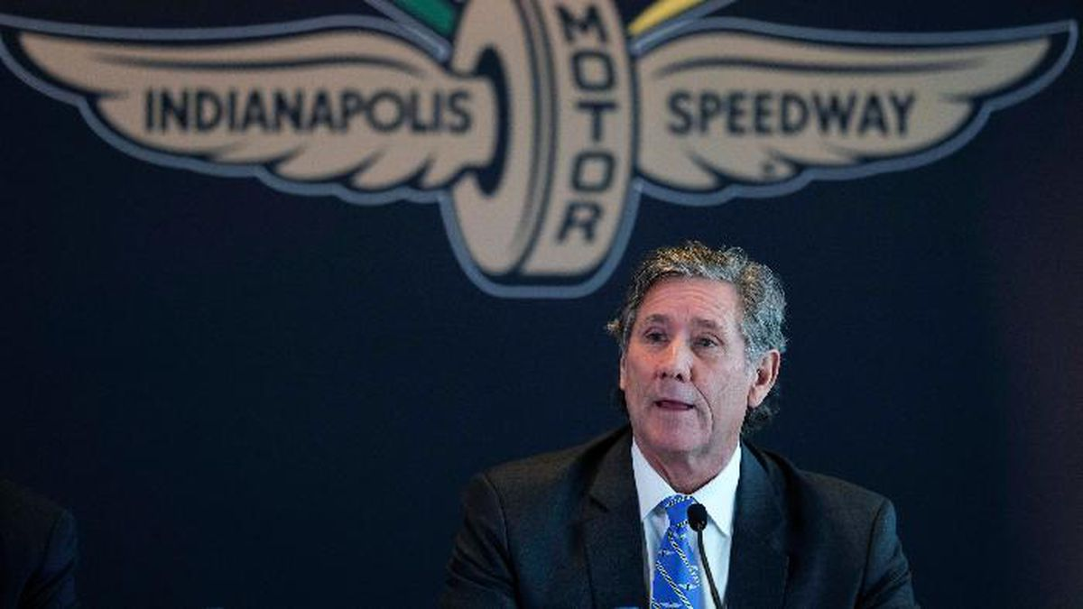 Hulman & Co. Chairman Tony Hulman speaks during a press conference at Indianapolis Motor Speedway in Indianapolis, Monday, Nov. 4, 2019. Indianapolis Motor Speedway and the IndyCar Series were sold to Penske Entertainment Corp. in a stunning move Monday that relinquishes control of the iconic speedway from the Hulman family after 74 years. (AP Photo/AJ Mast)