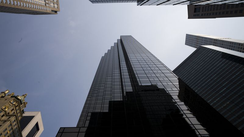 FILE - In this Aug. 27, 2018 photo, Trump Tower, center, stands on New York's Fifth Avenue.