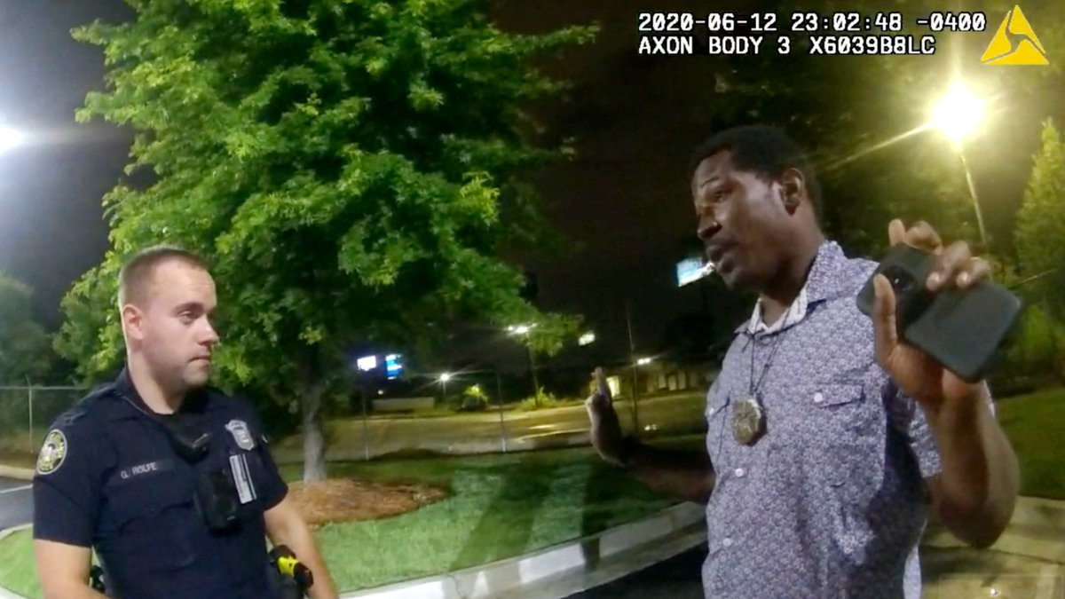 This screen grab taken from body camera video provided by the Atlanta Police Department shows...