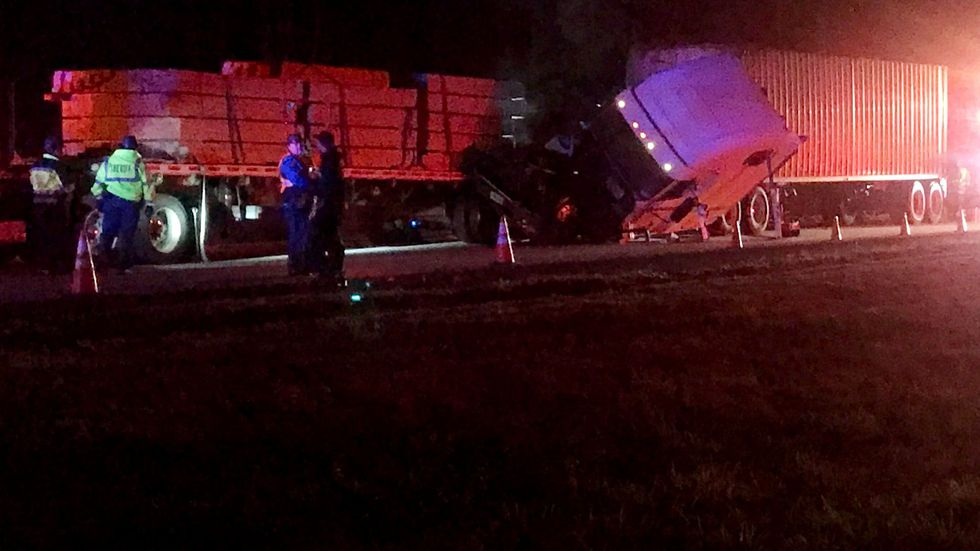 This was the scene of a crash involving two big-rigs that shut down eastbound Interstate 20...