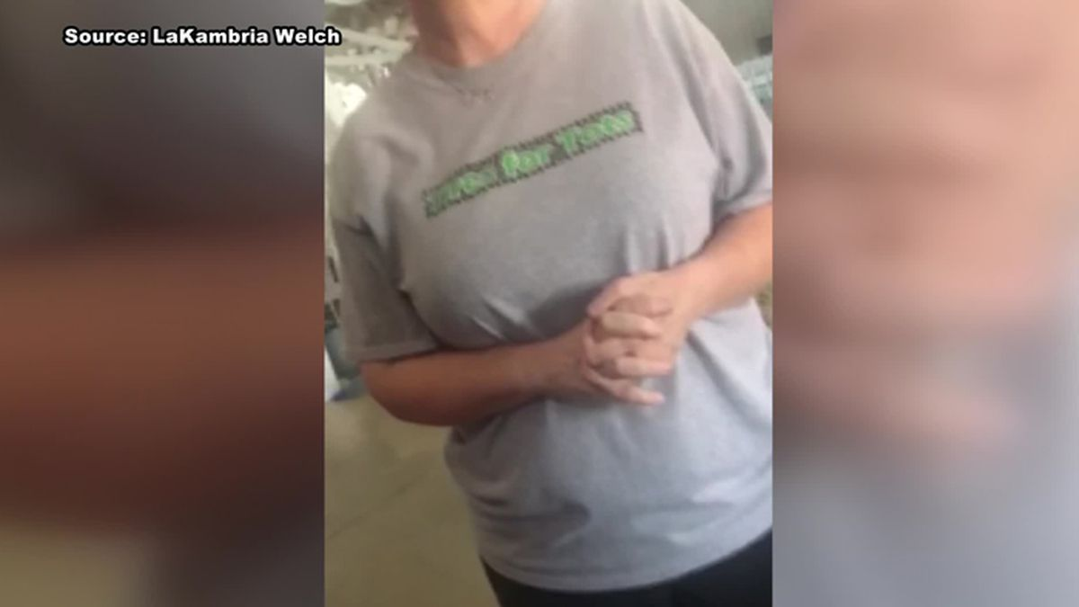 """""""First of all, we don't do gay weddings or mixed race, because of our Christian race... I mean our Christian beliefs,"""" the owner is heard saying on the video. (Source: LaKambria Welch/WLBT)"""