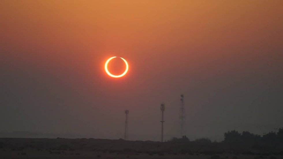 """The annular solar eclipse - when the moon covers the sun's center, leaving a """"ring of fire""""..."""