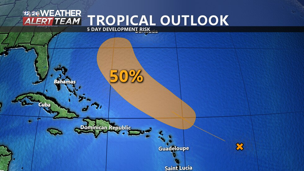 There is an area of interest in the Atlantic Ocean to the east of the Windward Islands that has...