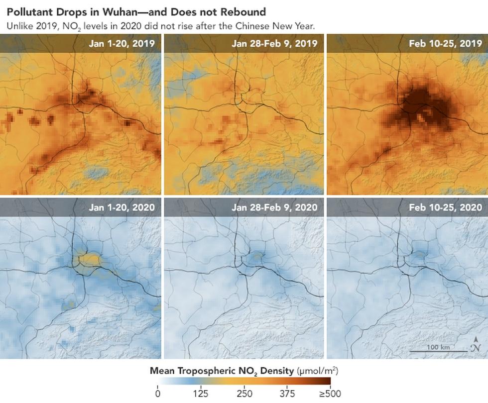 Sharp contrast between pollution levels in 2019 vs 2020.