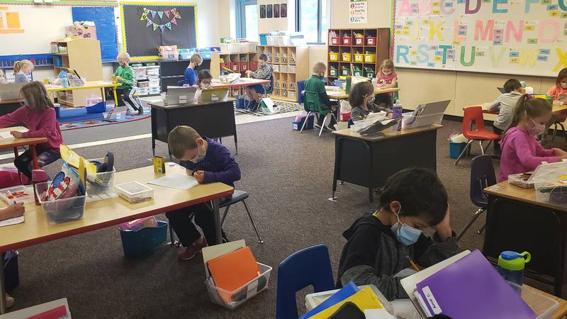 Students spend some of their last days as kindergarteners at West Middleton Elementary School.