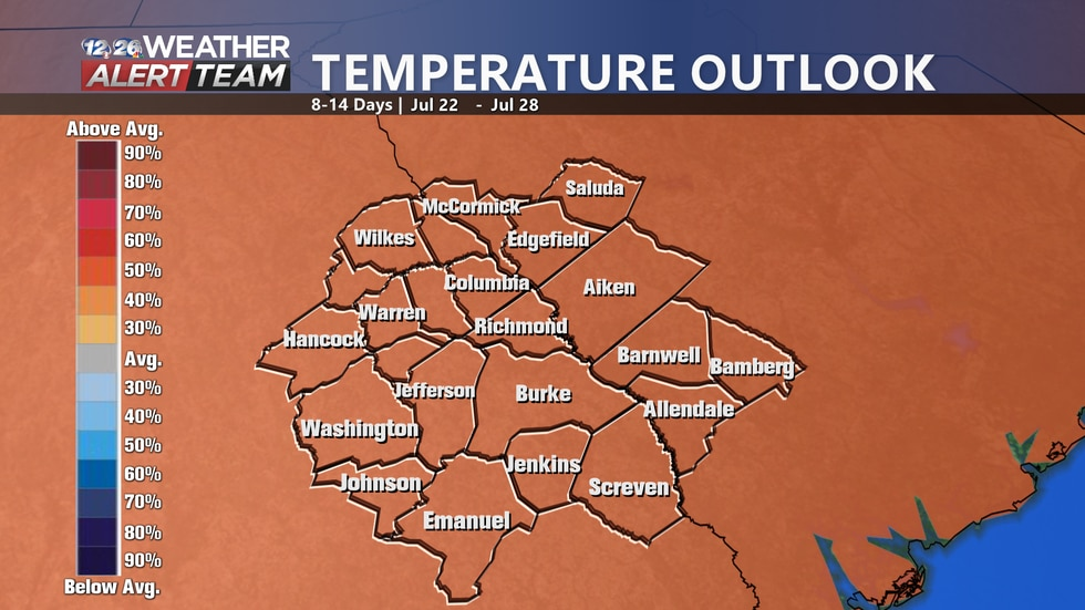 High temperatures are expected to be about 40-50% above average over the next 8-14 days here in...