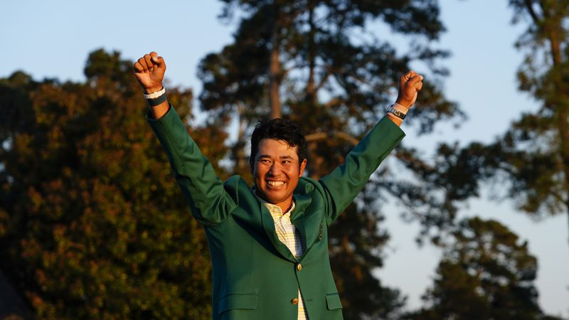 Hideki Matsuyama of Japan celebrates winning the Masters at Augusta National Golf Club, Sunday,...