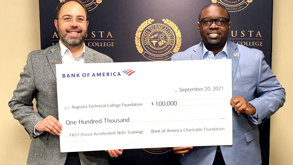 Ora Parish, president of Bank of America Augusta/Aiken, and Dr. Jermaine Whirl, president of...