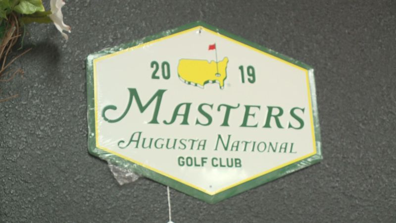 A 2019 Masters logo for sale at Trends and Traditions in Augusta.