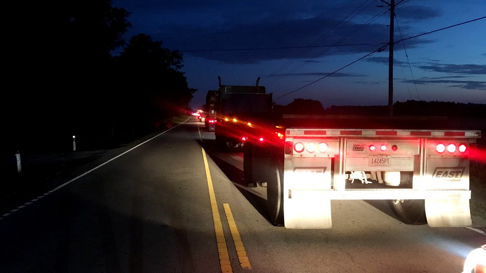 Traffic was jammed early Sept. 14, 2020, on Edgefield Highway after a head-on crash between a...