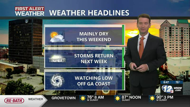 Mainly dry but seasonably hot for the weekend