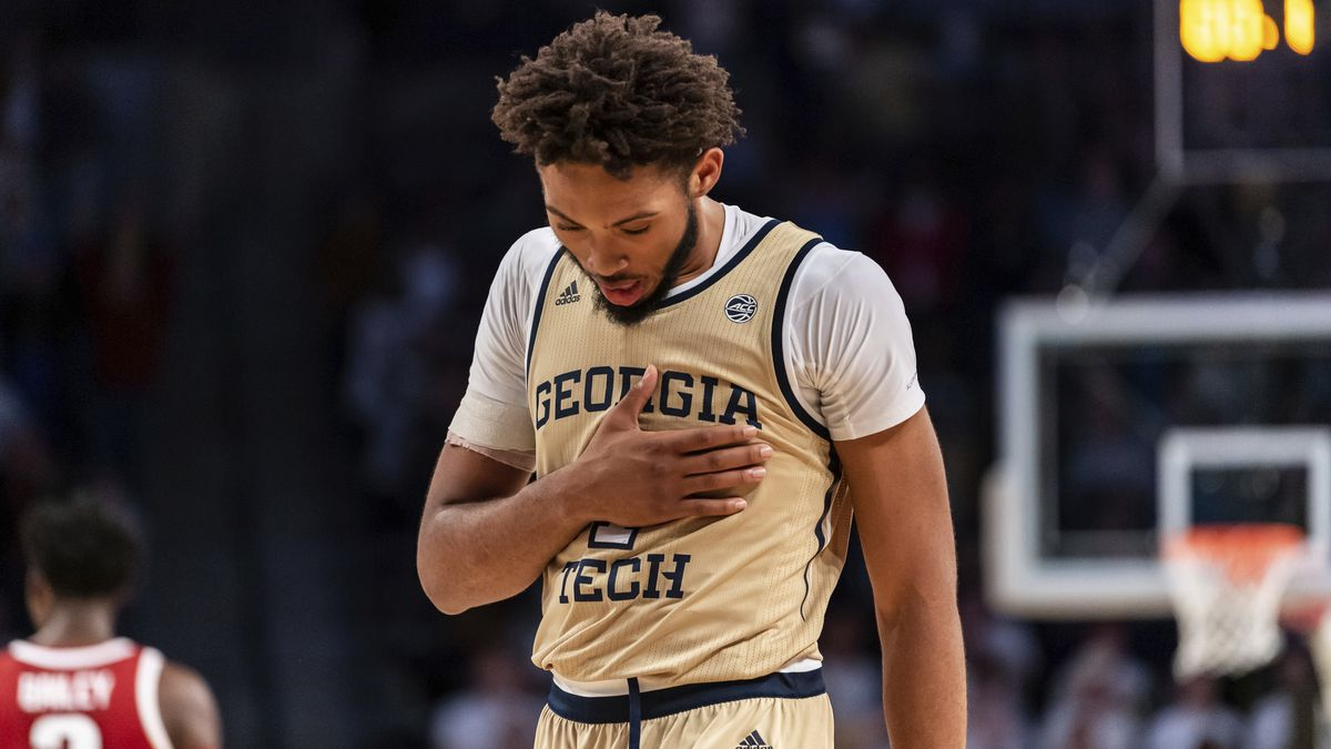 Georgia Tech forward James Banks III (1) reacts in overtime of an NCAA college basketball game...