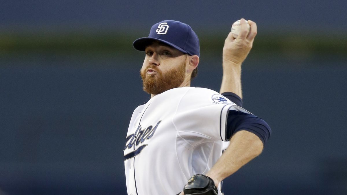 San Diego Padres starting pitcher Ian Kennedy works against a San Francisco Giants batter during the first inning of a baseball game Thursday, Sept. 24, 2015, in San Diego. (AP Photo/Gregory Bull)