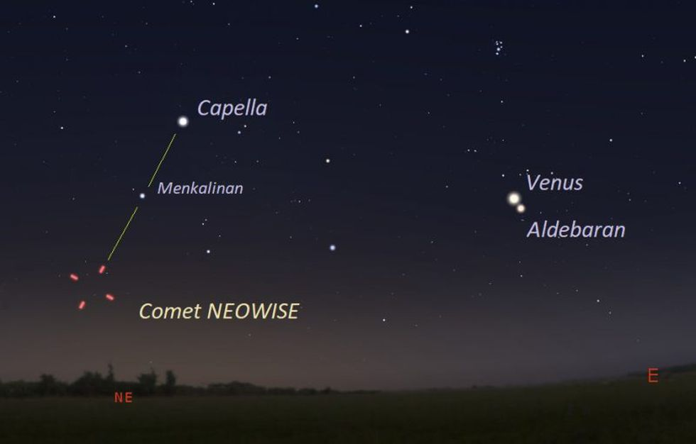 July 11, 2020 facing northeast about 45 to 60 minutes before sunrise. This is about the last date that comet NEOWISE will be visible in the morning. Illustration by Eddie Irizarry using Stellarium.
