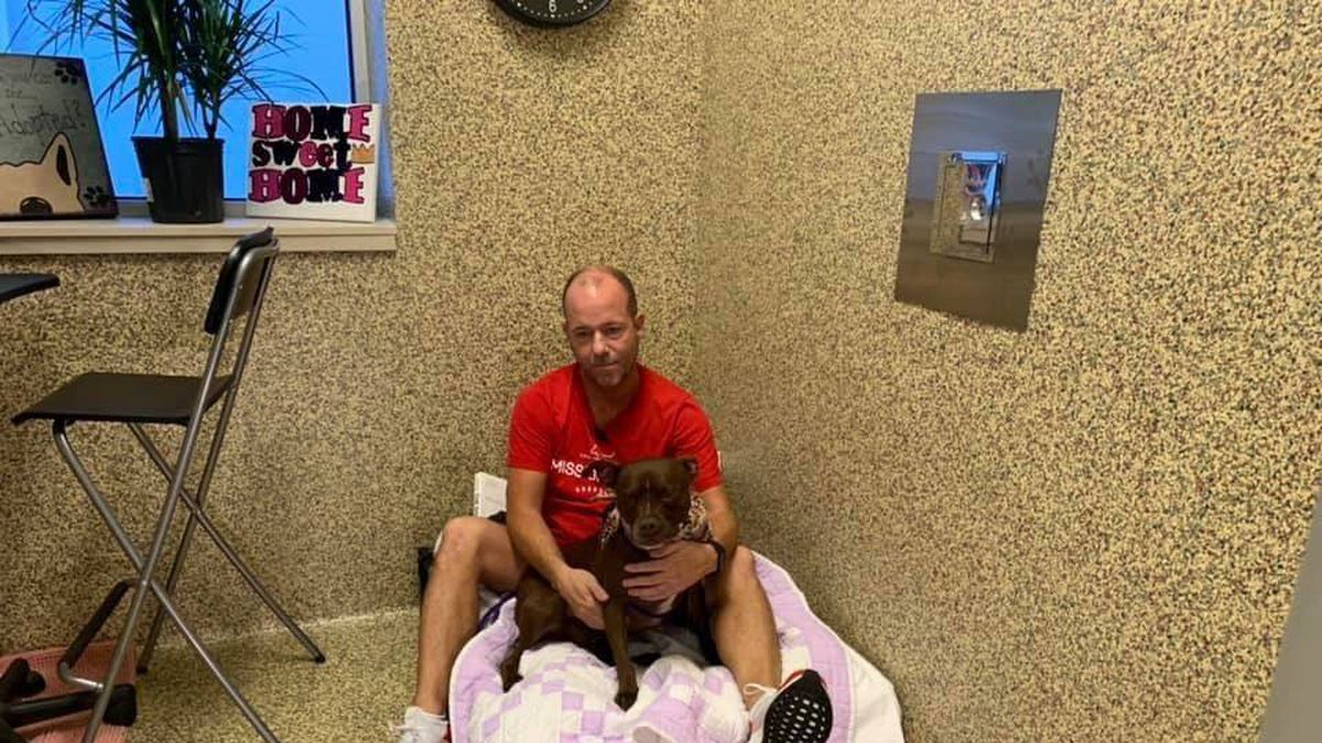 Scott Poore is sleeping, eating, and staying at this animal shelter until Queen gets adopted. (Source: Great Plains SPCA)