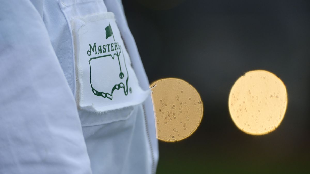 A caddie's uniform during Round 1 of the Masters at Augusta National Golf Club, Thursday,...