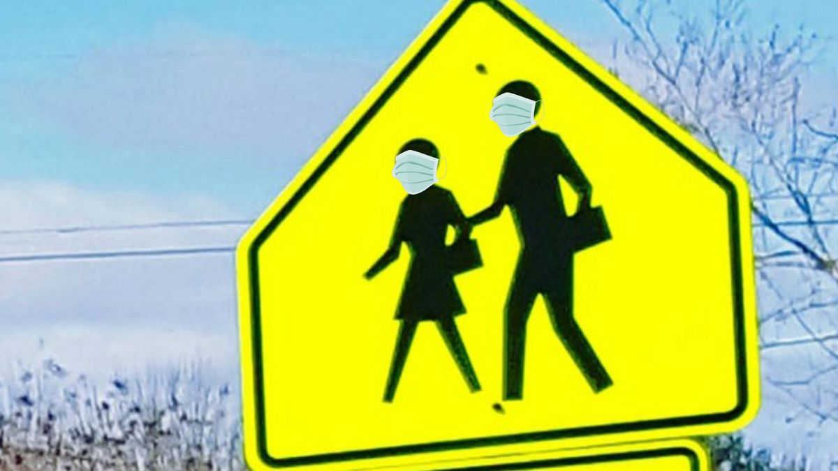 School crossing with masks