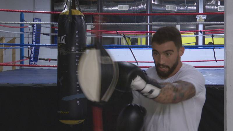 Trenton, SC native Dalton Bodie works on a speed bag as apart of a training session ahead of...