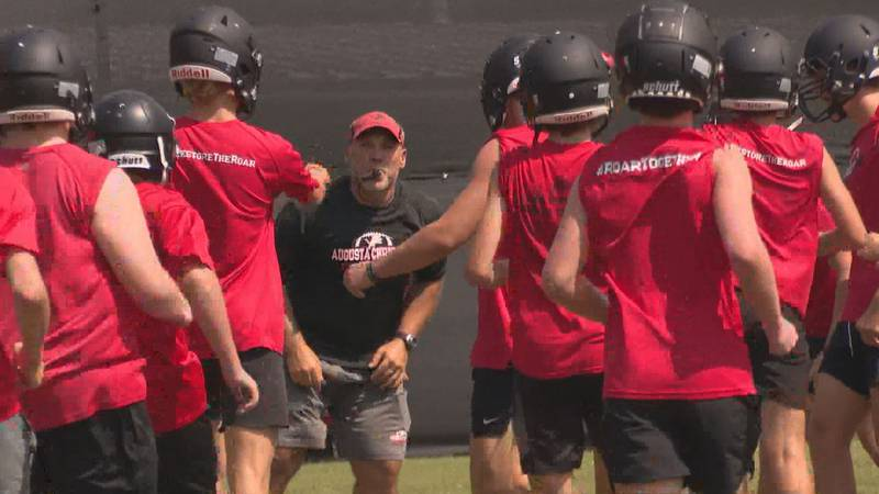 Augusta Christian head football coach Andrew Stickel breaks down the Lions prior to starting a...