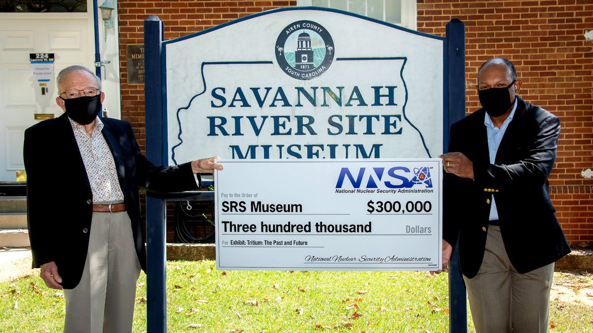 Walt Joseph of the SRS Heritage Foundation (left) and Jeff Allison, NNSA – Savannah River Field...