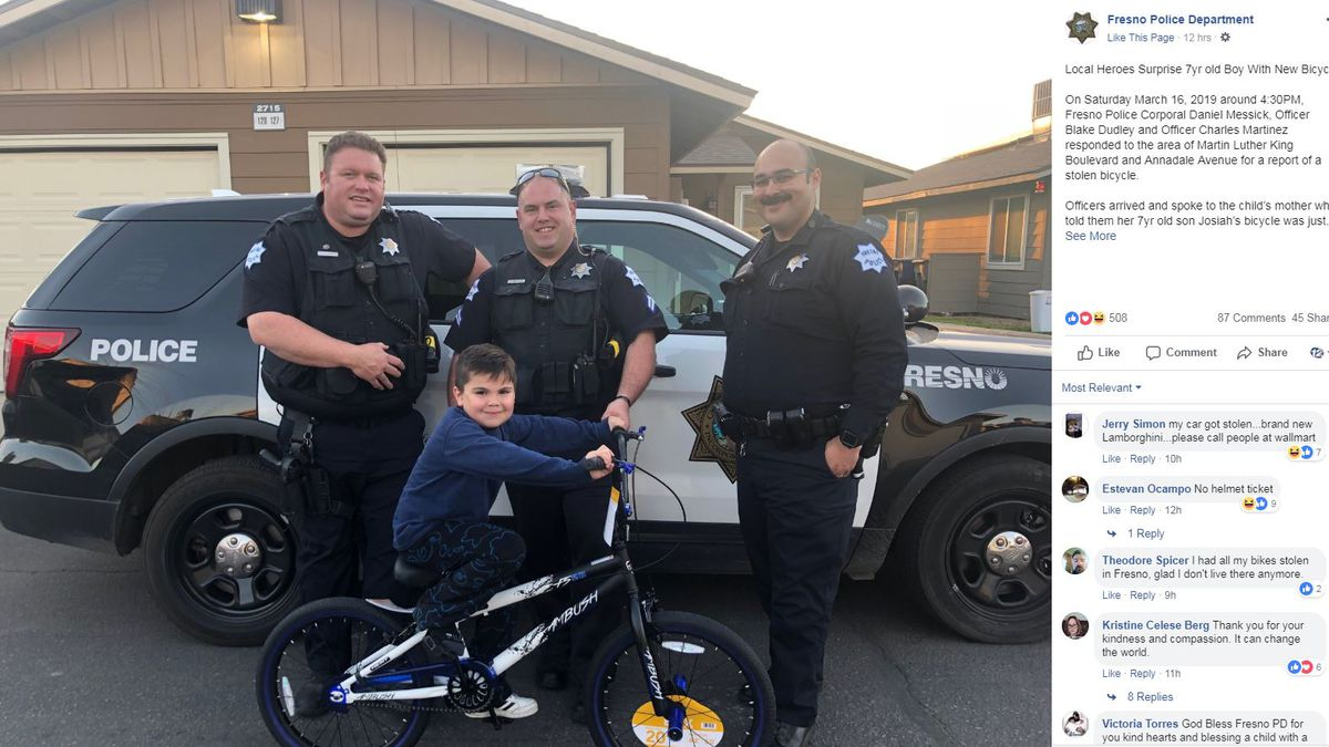 The Fresno Police Department bought 7-year-old Josiah a new bike after his was stolen. (Source: Facebook)
