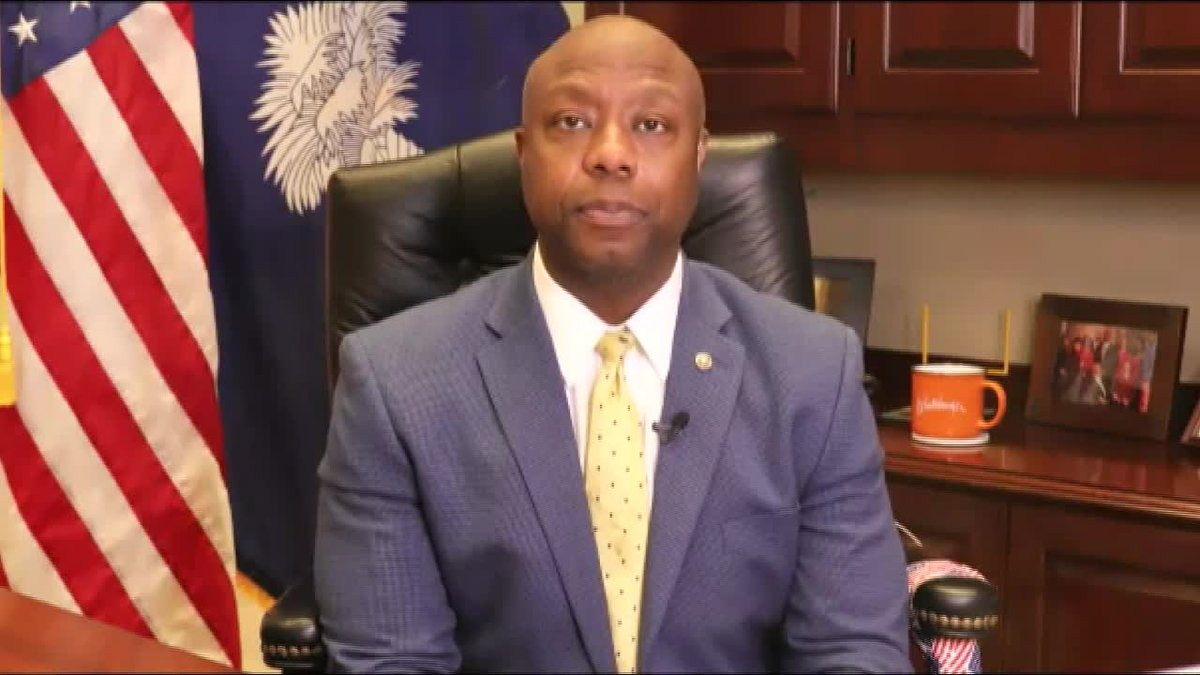 """U.S. Sen. Tim Scott accused Democrats of squandering a """"crucial opportunity"""" to complete police..."""