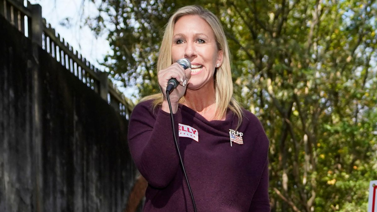 Republican candidate for Georgia's 14th congressional seat Marjorie Taylor Greene speaks from...