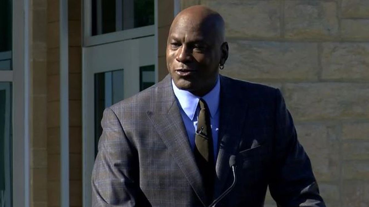 Michael Jordan sheds tear, credits mom at opening of Novant clinic in Charlotte (Source: WBTV)