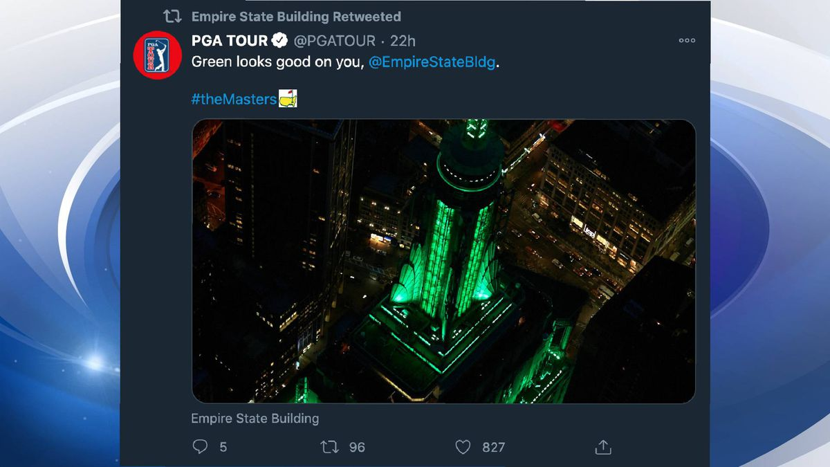 The Empires State Building was set to green on Thursday night to celebrate the Masters.