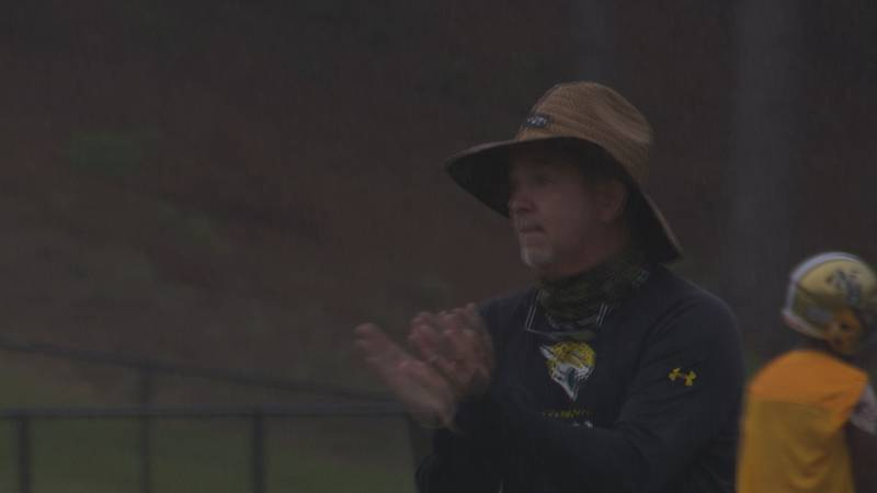 North Augusta head football coach Jim Bob Bryant offers encouragement during a Friday morning...