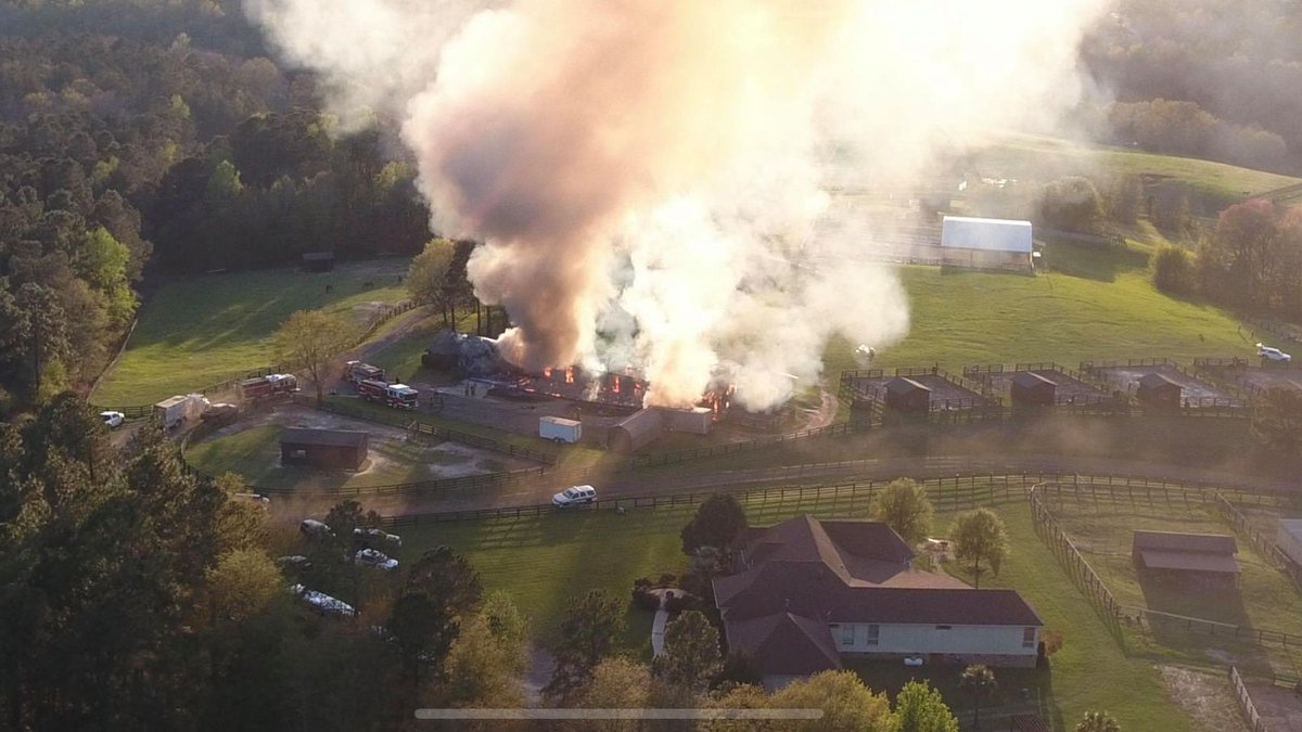 The Silver Bluff Fire Department says a horse barn was fully engulfed with flames, but all...