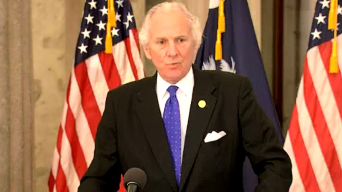 South Carolina Gov. Henry McMaster holds a news conference.