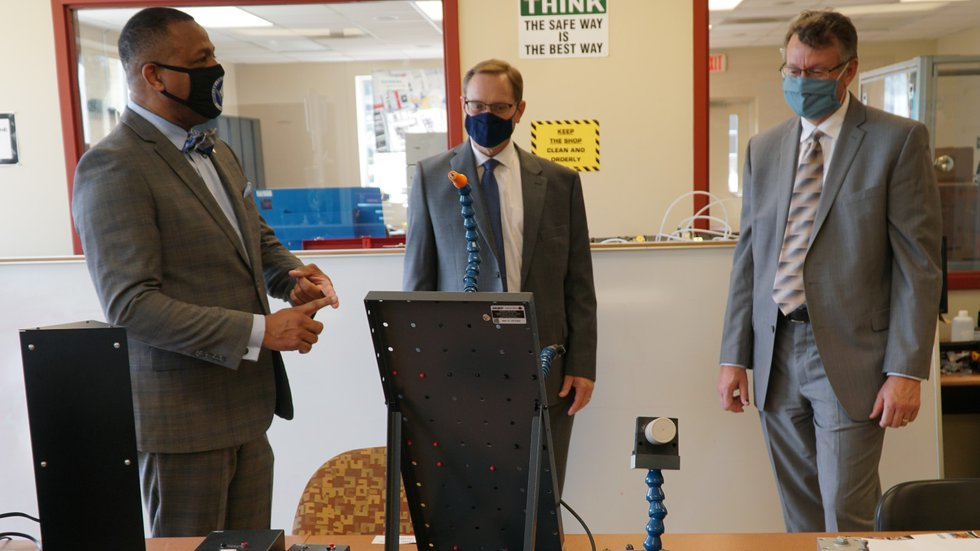 From left: Denmark Technical College President and CEO Dr. Willie Todd gives SRR Chief...