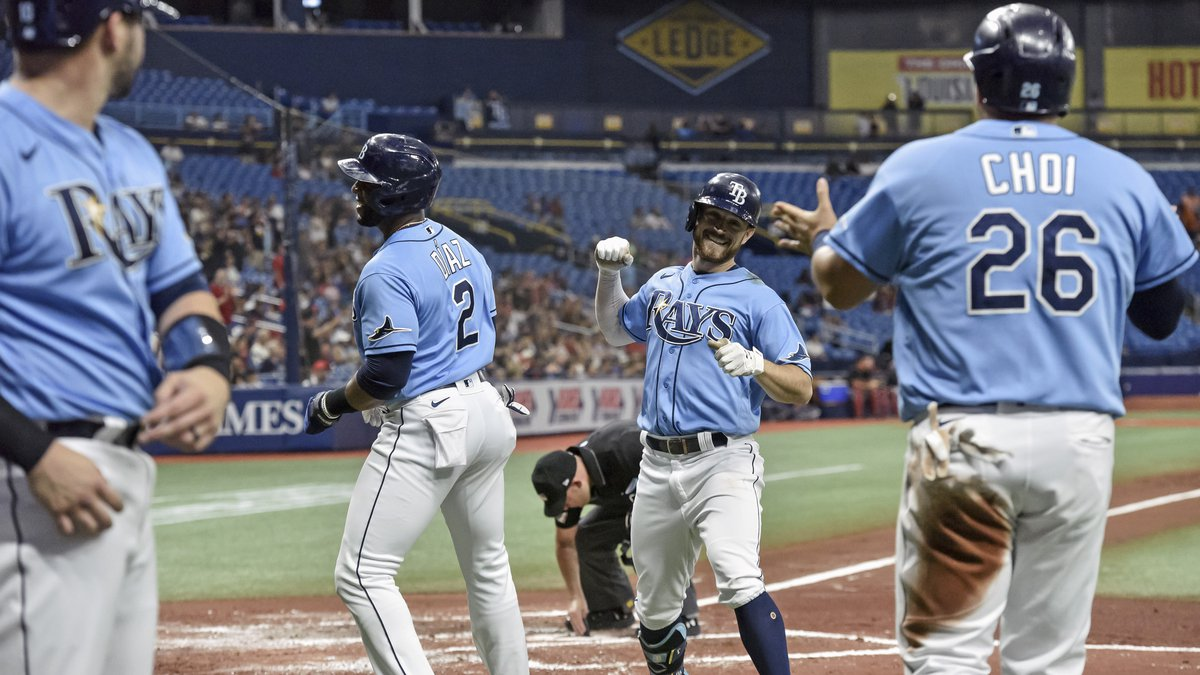 From left to right, Tampa Bay Rays' Mike Zunino, Yandy Diaz (2), Brandon Lowe and Ji-Man Choi...