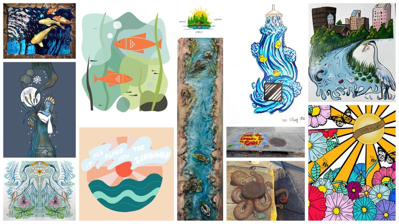 These are the winning designs for Augusta's storm drain murals.