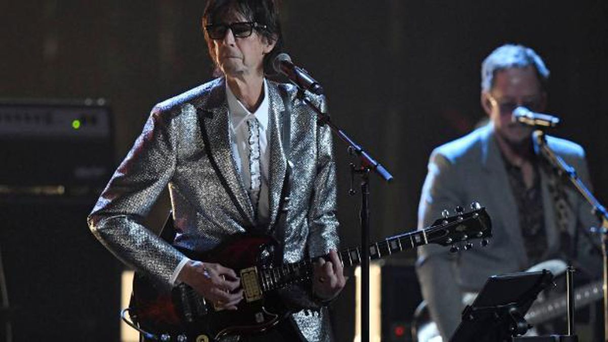Ric Ocasek, left, from the Cars, performs during the Rock and Roll Hall of Fame induction ceremony, Saturday, April 14, 2018, in Cleveland. (AP Photo/David Richard) (Source: David Richard)