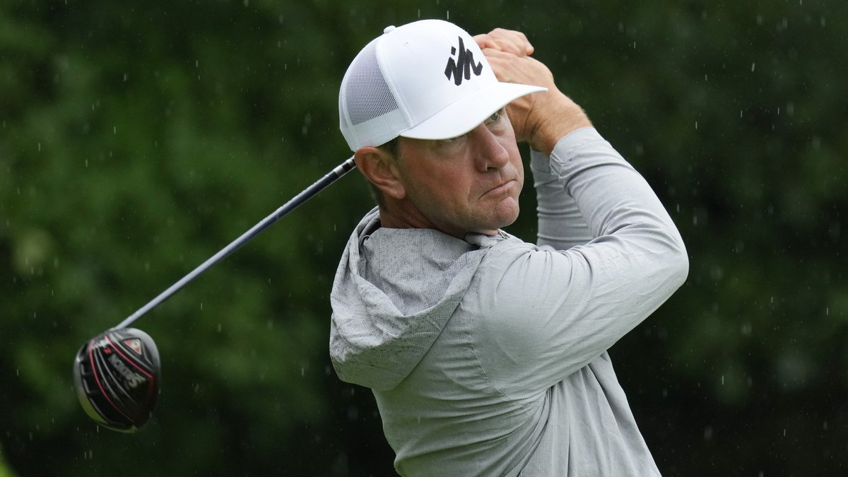 Lucas Glover hits off the second tee during the final round of the John Deere Classic golf...