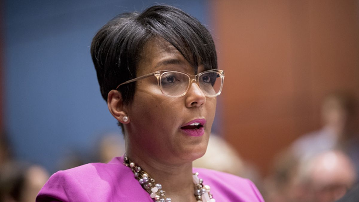 In this July 17, 2019 file photo, Atlanta Mayor Keisha Lance Bottoms speaks during a Senate Democrats' Special Committee on the Climate Crisis on Capitol Hill in Washington. (AP Photo/Andrew Harnik, File)