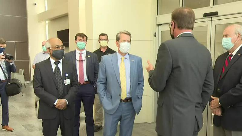 Governor Kemp stopped in Augusta today to see the newest addition to the JMS Burn Center at...