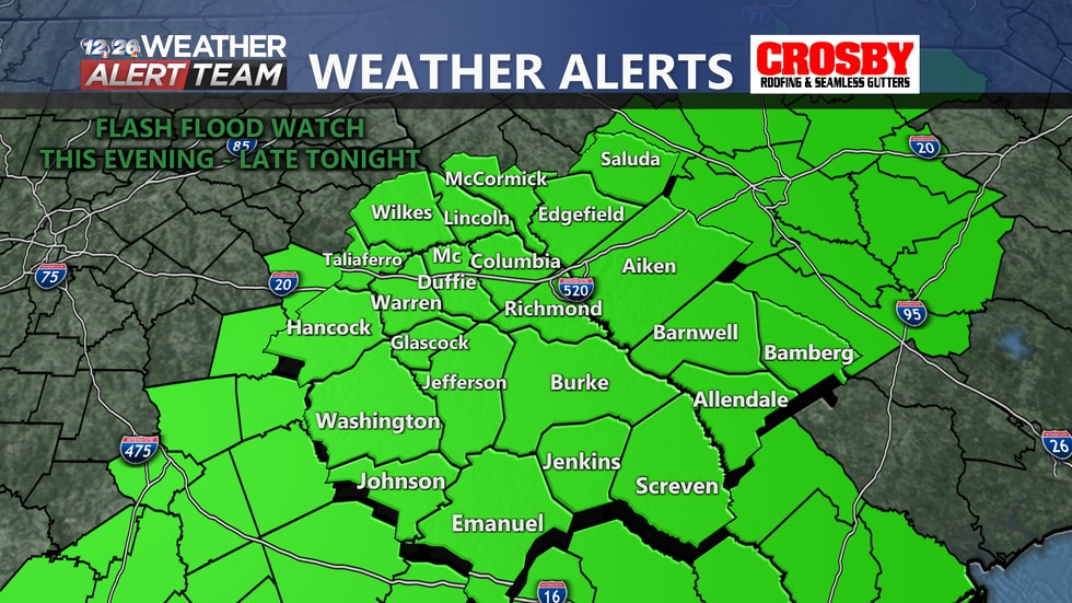 A Flash Flood Watch is now in effect for the entire CSRA through late tonight.