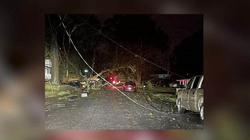 Storm damage from severe storms in Georgia
